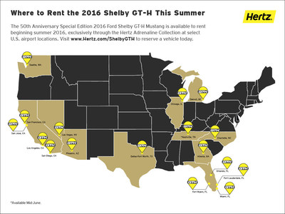 Shelby GT-H Availability Map - See where you can rent the 2016 Shelby GT-H this summer.