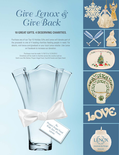 Give Lenox & Give Back to American Charitable Organizations this Holiday Season.  (PRNewsFoto/Lenox Corporation)