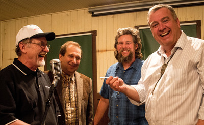 """Handover of the key"". From left to right, Dr. Bill Adams, Rio Tinto, Henry Golas, VP of the Death Valley Conservancy, Scott Smith, Superintendent of Ryan Camp, and Preston Chiaro, President of the Death Valley Conservancy.  (PRNewsFoto/The Death Valley Conservancy)"