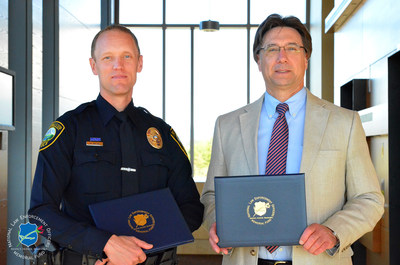 The National Law Enforcement Officers Memorial Fund has selected Detectives Micah Wilson (Left) and Scott Bramhall, of the Puyallup (WA) Police Department, as the recipients of its Officer of the Month Award for September 2016.