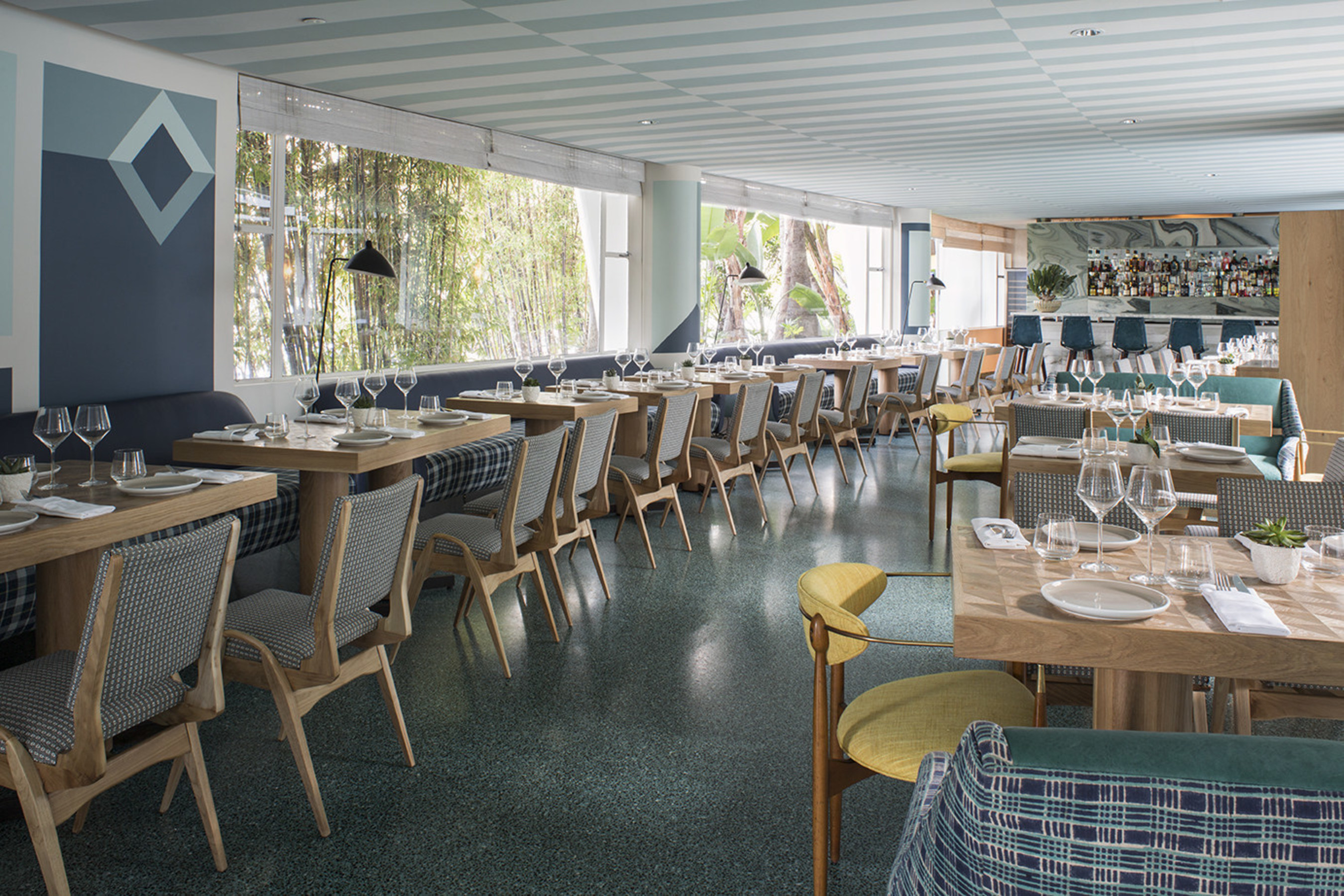 Viviane, new restaurant and bar at Avalon Hotel Beverly Hills. Designed by Kelly Wearstler