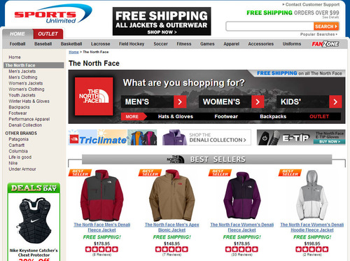 Merchandising banners on Sports Unlimited's search results page help shoppers find the right product.  (PRNewsFoto/SLI Systems)