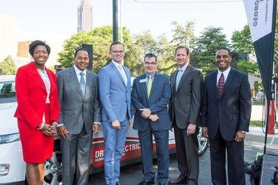 Georgia Power, elected officials and community leaders mark the roll out of Georgia Power's new fleet of EVs. (Left - Right) Latanza Adjei (Vice President of Sales, Georgia Power); Kenny Coleman (Senior Vice President of Marketing, Georgia Power); Michael Beinenson (President, EV Club of the South); Commissioner Tim Echols (Georgia Public Service Commission); Paul Bowers (Chairman, President & CEO of Georgia Power); and Carl Jackson (Electric Transportation Manager, Georgia Power).