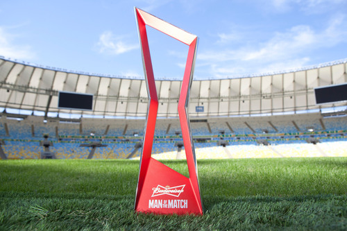 The trophy for FIFA Man of the Match presented by Budweiser, which honors the best player in each match was revealed today in Rio to celebrate the start of the FIFA Confederations Cup Brazil 2013.  (PRNewsFoto/Budweiser)