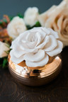 John David candles, Vastye container with rose gold base and handmade porcelain bloom diffuser.