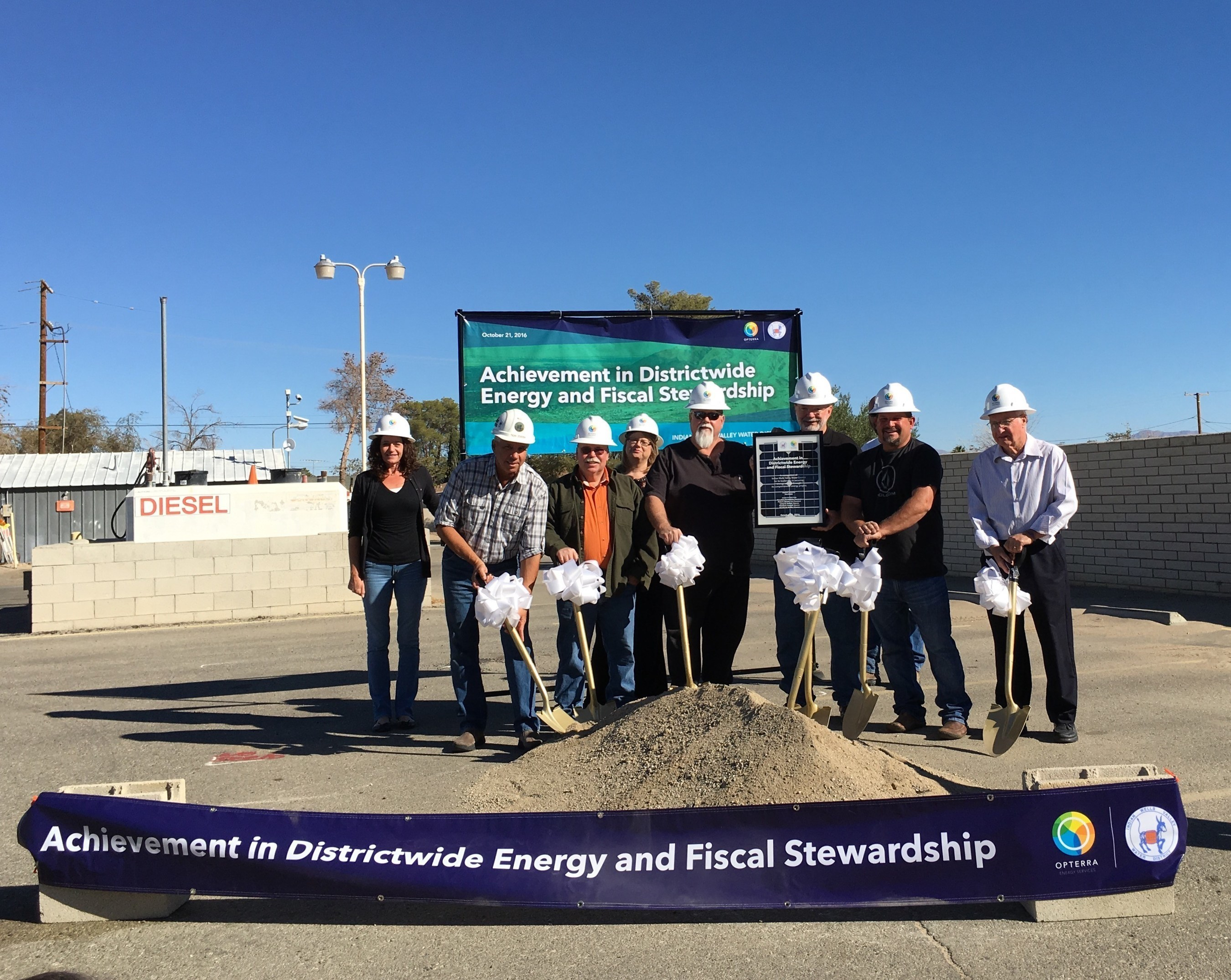 Leaders from the Indian Wells Valley Water District break ground on the beginning of a comprehensive energy efficiency and solar program with OpTerra Energy Services. The community celebration was held on Friday, October 21st, 2016.