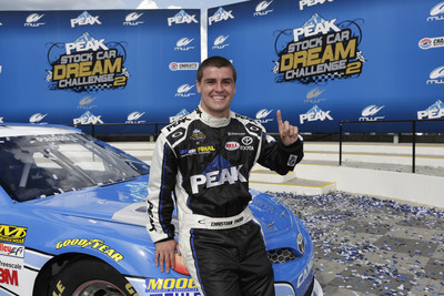 Christian PaHud celebrates in Victory Lane after winning the PEAK Stock Car Dream Challenge in Charlotte, North Carolina