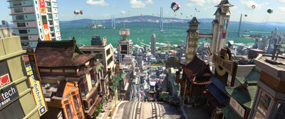 "Guests are invited to see the city that inspired ""Big Hero 6"" filmmakers on the new Adventures by Disney San Francisco/Napa Long Weekend itinerary in 2015. In this still from the film, filmmakers captured the busy look of a bustling multicultural city in the look of San Fransokyo. (Disney)"