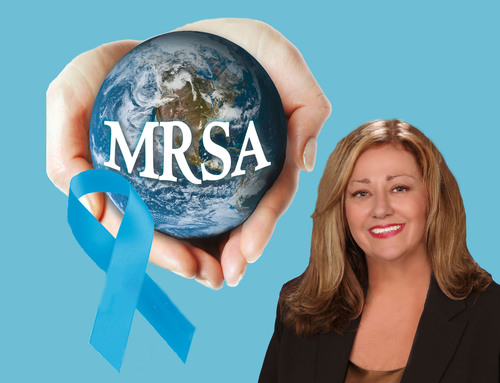World MRSA Awareness Month. Global MRSA Epidemic -- Prevention Saves Lives. Sponsors-Tec Labs, Roche, Pfizer, BD, Cepheid. Jeanine Thomas -- MRSA Survivors Network.  (PRNewsFoto/MRSA Survivors Network)