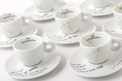 Yoko Ono: Mended Cups - illy Art Collection. *Image provided by illy North America showing the newest collaboration for the illy Art Collection of espresso cups and saucers