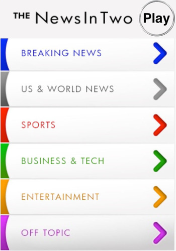 The News In Two Smartphone Application Landing Page.  (PRNewsFoto/The News In Two)