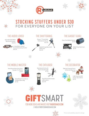 RadioShack's stocking-stuffer selections, starting at $0.99, are sure to satisfy each member of your family.