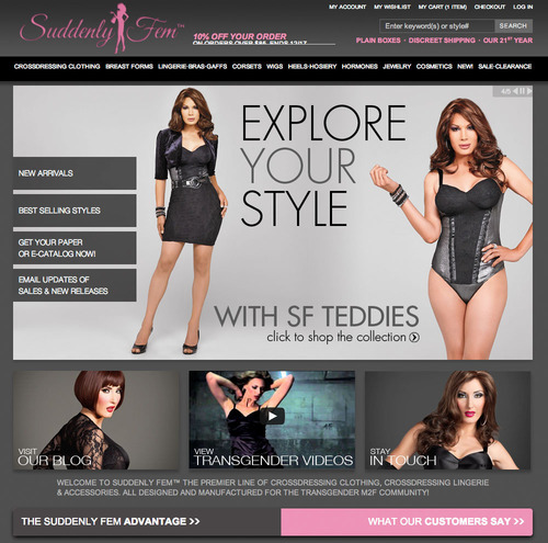The sophisticated New Suddenly Fem Homepage.  (PRNewsFoto/Suddenly Fem)