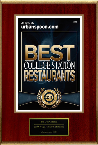 "Mr G's Pizzeria Selected For ""Best College Station Restaurants"". (PRNewsFoto/Mr G's Pizzeria) (PRNewsFoto/MR G'S PIZZERIA)"