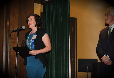Incorporate Massage CEO Amelia Wilcox receives 2016 Woman-Owned Business of the Year from the U.S Small Business Association in Salt Lake City, Utah.