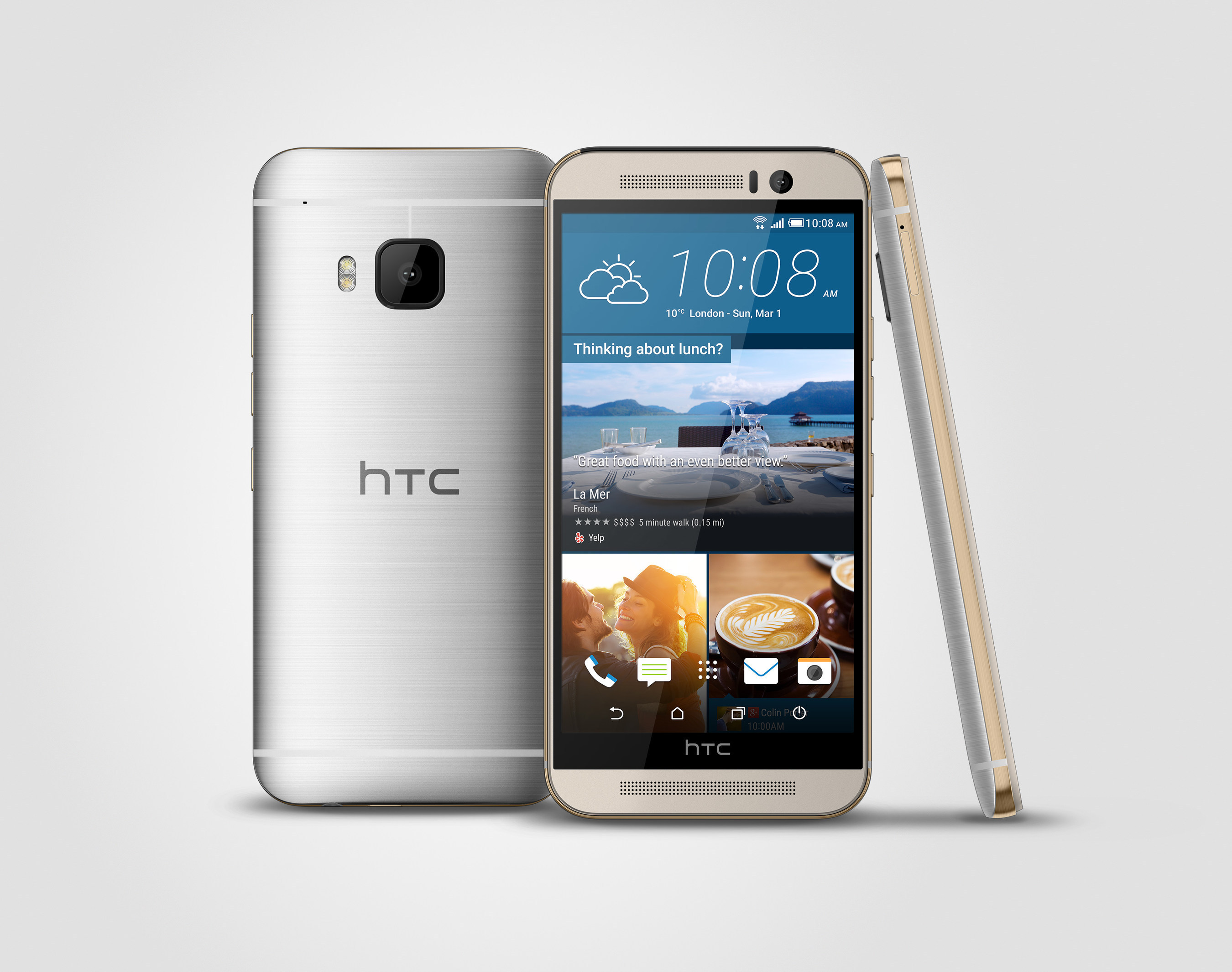 The new HTC One has a stunning dual-finish metal body, a 20MP camera, intuitive apps that anticipate your needs, front-facing BoomSound(TM) speakers with Dolby Audio and a 5-inch full HD screen. The HTC One M9 made its debut at Mobile World Congress on March 1, 2015 in Barcelona, along with other HTC innovative announcements.