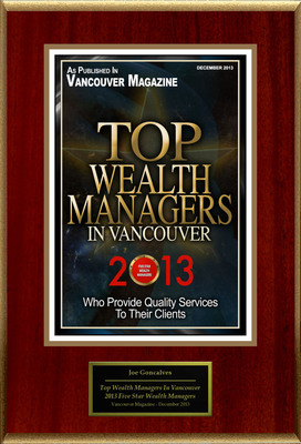 """Joe Goncalves Selected For """"Top Wealth Managers In Vancouver"""". (PRNewsFoto/American Registry) (PRNewsFoto/AMERICAN REGISTRY)"""