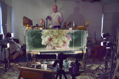 Kim Keever at work in his studio.