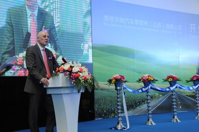 James R. Verrier, President and Chief Executive Officer, BorgWarner, speaks during the new production facility opening in Taicang, China. (PRNewsFoto/BorgWarner Inc.)