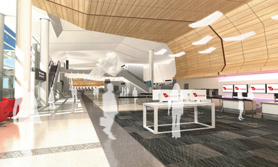 Artist's rendering of Virgin America's new check-in counter at Terminal 2, the first LEED(R) Gold airport terminal in the country at San Francisco International Airport set to open Spring of 2011. Image courtesy of Gensler.  (PRNewsFoto/Virgin America, Gensler)