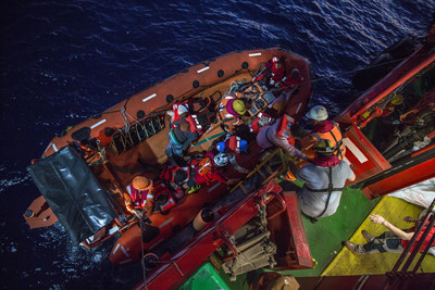 Refugees and migrants are rescued from the Mediterranean Sea by the Vos Hestia
