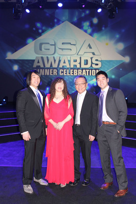 Marvell Co-Founders, Dr. Sehat Sutardja and Weili Dai, Honored with the 2013 Dr. Morris Chang Exemplary Leadership Award by the Global Semiconductor Alliance on December 12, 2013.  Dr. Sehat Sutardja and Weili Dai photographed with their sons Christopher and Nicholas.  (PRNewsFoto/Marvell Semiconductor, Inc.)