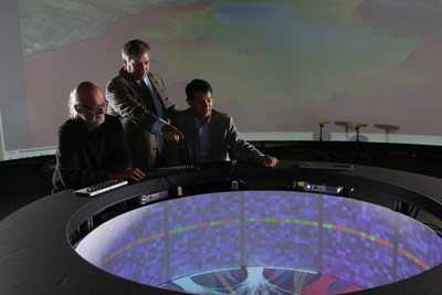 Rensselaer Polytechnic Institute (RPI) Curtis R. Priem Experimental Media and Performing Arts Center  Director Johannes Goebel (left), Rensselaer Chief Information Officer and Vice President for Information Services and Technology John Kolb (middle), and IBM Research scientist and lab leader Hui Su (right) explore data with Campfire, as part of the Cognitive and Immersive Systems Laboratory.