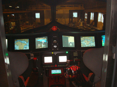 A view of the cockpit of GHOST, Juliet Marine Systems, Inc.'s revolutionary new surface/sub-surface platform.