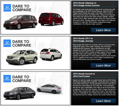 The Honda model comparison page serves as an index for informative web pages that put Honda models against comparable competitors.  (PRNewsFoto/Benson Honda)