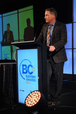Mark Schnarr, CEO & President of Alpha Technologies Ltd., accepts the Advancing Technology and Innovation Award at the 2013 BC Export Awards.  (PRNewsFoto/Alpha Technologies Ltd.)