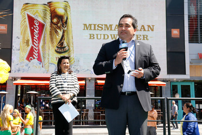 Los Angeles, June 17, 2014 - Fidel Vargas, president and CEO of the Hispanic Scholarship Fund (HSF) thanks Margarita Flores, vice president of community relations for Anheuser Busch for its contribution to the HSF. (PRNewsFoto/Bud Light)