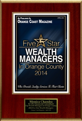 """Monica Chandra Selected For """"Top Wealth Managers In Orange County 2014"""" (PRNewsFoto/American Registry)"""