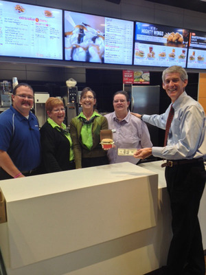 Pictured from left to right  is  Chuck Williams, McDonald's of Bridgeport's store manager with 17 years of experience;  J.D. Owens, Director of Operations with 34 years of experience; Mary Gibbs, McDonald's Supervisor with 41 years of experience; Helen Davis, McDonald's of Bridgeport's Swing Manager with 43 years of experience; and John Ebert, McDonald's franchisee who owns and operates 16 McDonald's restaurants in North Central West Virginia and Western Maryland.  (PRNewsFoto/McDonald's)
