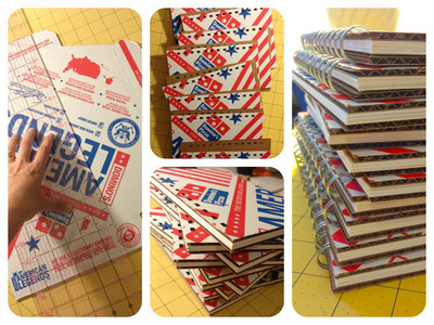 One of the ten participating artists in the Domino's Pizza Second Hand Logos program, Liz Ohsiek, of West Chester, Pa., created notebooks by utilizing authentic American Legends pizza boxes. Ohsiek created other pieces of 'upcycled' eco-art, including scarves from old uniforms and bowls from sandwich wrap tissue.  (PRNewsFoto/Domino's Pizza)