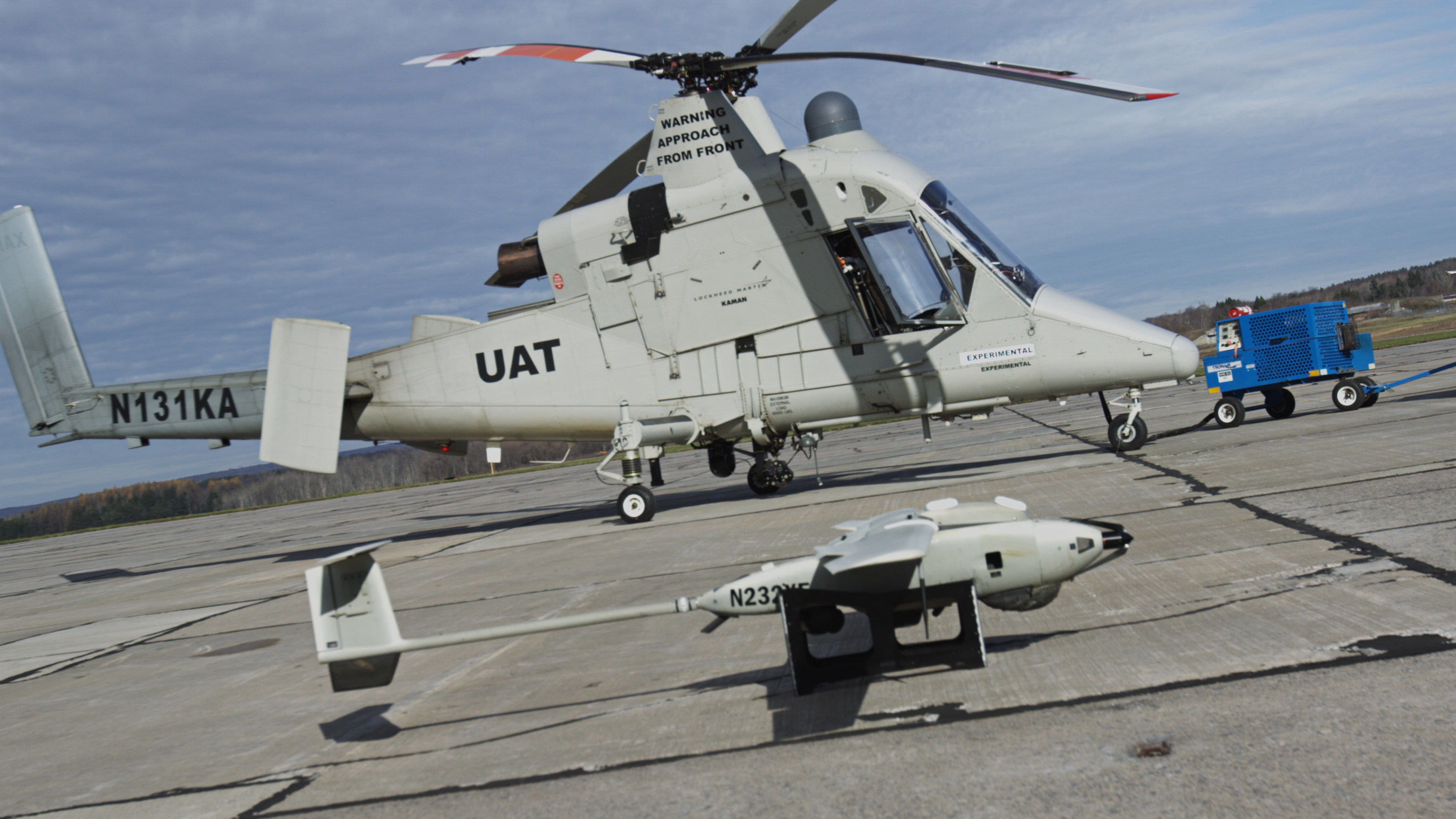 The Stalker XE UAS directed the unmanned K-MAX cargo helicopter to conduct water drops at a precise location to extinguish a fire. The Stalker XE and K-MAX operated in collaboration with a prototype UAS Traffic Management (UTM) system, which provides essential capabilities to enable safe UAS operations.