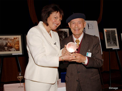 Mike Grgich (right) with Roots of Peace Founder Heidi Kuhn.  Grgich's homeland of Croatia suffered through the Balkan War, which left an estimated 1.3 million landmines and unexploded ordnance throughout the country. Grgich has been a long-time supporter of Roots of Peace and its mission of replacing landmines with grape vines in war-torn regions worldwide. In 2008 Roots of Peace presented Grgich with the Global Citizen Award for his leadership and unique contributions in raising landmine awareness around the globe.  (PRNewsFoto/Grgich Hills Estate)