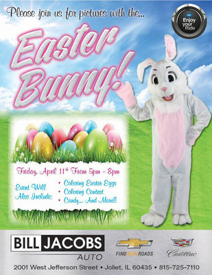 The Bill Jacobs Auto annual Easter festivities will take place April 11, 2014 at the Cadillac and Chevy location in Joliet.  (PRNewsFoto/Bill Jacobs Auto Group)
