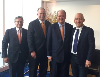 Voya leaders join Shlomo Benartzi (far right), professor and co-chair of the Behavioral Decision-Making Group at UCLA Anderson School of Management, in New York City for the launch of Voya's Behavioral Finance Institute for Innovation. Pictured from Voya (left to right): Alain Karaoglan, chief operating officer; Charlie Nelson, chief executive officer of Retirement; and Rodney O. Martin Jr., chairman and CEO.