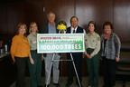 Representatives from Stater Bros. Markets recently presented a $30,000 check to the San Bernardino National Forest as the third and final installment of a partnership with Coca-Cola to replant 100,000 trees to help restore Southern California's San Bernardino National Forest.  Pictured (l to r) are Susan Atkinson, Stater Bros. Vice President Corporate Affairs; Mary Beth Najera, Forest Resource Officer; Tom Gillett, Deputy Forest Supervisor; Jack H. Brown, Stater Bros. Chairman and CEO; Jody Noiron, Forest Supervisor; and Marilyn Ryan, Stater Bros. Director Special Projects.  (PRNewsFoto/Stater Bros. Markets)