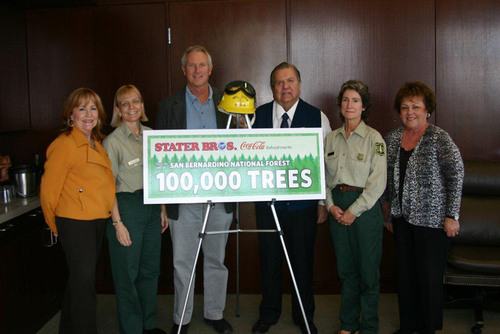 Representatives from Stater Bros. Markets recently presented a $30,000 check to the San Bernardino National Forest as the third and final installment of a partnership with Coca-Cola to replant 100,000 trees to help restore Southern California's San Bernardino National Forest.  Pictured (l to r) are Susan Atkinson, Stater Bros. Vice President Corporate Affairs; Mary Beth Najera, Forest Resource Officer; Tom Gillett, Deputy Forest Supervisor; Jack H. Brown, Stater Bros. Chairman and CEO; Jody Noiron, Forest Supervisor; and Marilyn Ryan, ...