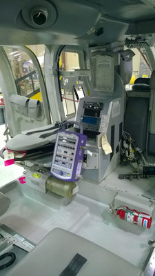 LifePort Machined Stretcher, Oxygen Cylinder Mount and Utility Mount installed in a Bell 407 aircraft.