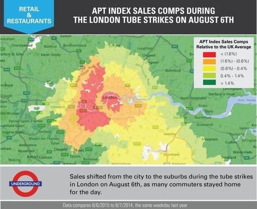 London Tube Strikes: Main Tube Strike Day, Thursday, August 6th (PRNewsFoto/Applied Predictive Technologies) (PRNewsFoto/Applied Predictive Technologies)