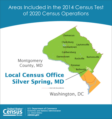 The U.S. Census Bureau is conducting its first major field test beginning June 5 in portions of Washington, D.C., and Montgomery County, Md. The map shows the areas where the test will be conducted.