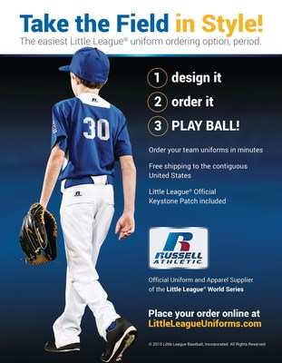 Little League(R) and Russell Athletic(R) today launched LittleLeagueUniforms.com - a website that will allow coaches, league administrators, and parents to order Little League-sanctioned team uniforms in three easy steps. Design it, order it and play ball!