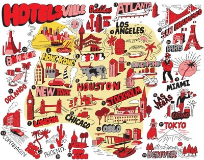 Introducing Hotelsville ... Celebrated international artist Jeremyville captures the top 25 cities that are home to the world's savviest travelers, who have booked the most free Hotels.com Rewards nights.