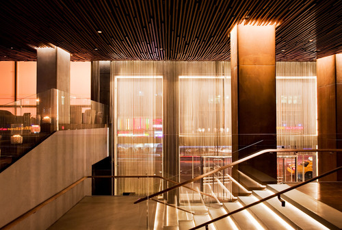 The Row NYC hotel's ultra contemporary lobby captures the buzz of Times Square.  (PRNewsFoto/Row NYC)