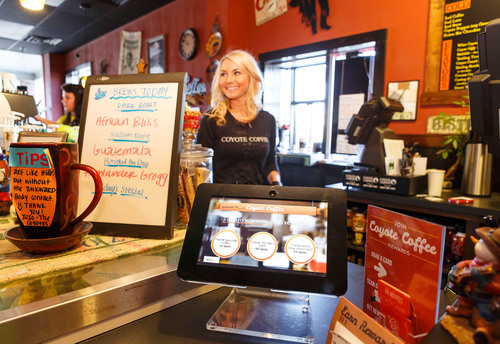 """Using SpotOn, we've been able to increase revenue more than 30 percent,"" said Tunckie LeCroy, owner of Easley, SC-based Coyote Coffee, which joined SpotOn six months ago to save money on printed loyalty cards and connect with customers in a unique way.  (PRNewsFoto/SpotOn)"