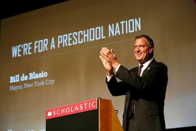 New York City Mayor Bill de Blasio set the tone for LAUP's first ever Preschool Nation Summit, as he inspired panelists and attendees alike with his opening remarks at the event. (PRNewsFoto/Los Angeles Universal Preschool)