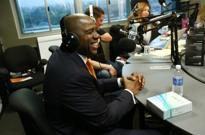 "Earvin ""Magic"" Johnson, CEO of Magic Johnson Enterprises, visits Big Boy's Neighborhood at the LA Power 106 studio to discuss the OraQuick(R) In-Home HIV test and the importance of knowing your HIV status.    (PRNewsFoto/OraSure Technologies, Inc.)"