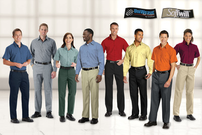 The color of shirts and pants employees wear, such as those pictured here manufactured by UniFirst Corporation, can help reinforce a basic or strategic business image. White, for example, connotes cleanliness and is generally favored by medical personnel; green suggests growth and fertility and is often the color of choice for landscape workers. (PRNewsFoto/UniFirst)